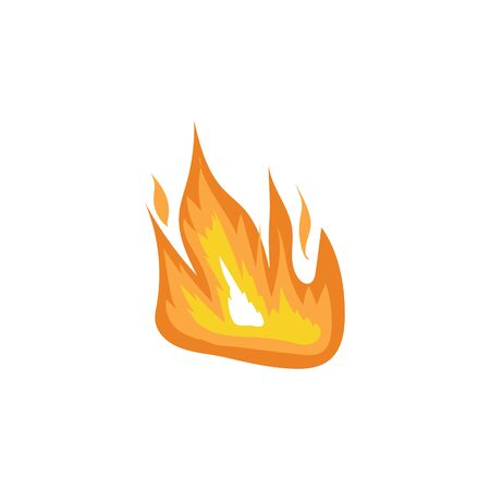 Hot orange flame symbol in hand drawn flat style, simple fire icon for bonfire emblem element or burn symbol isolated on white background - vector illustration