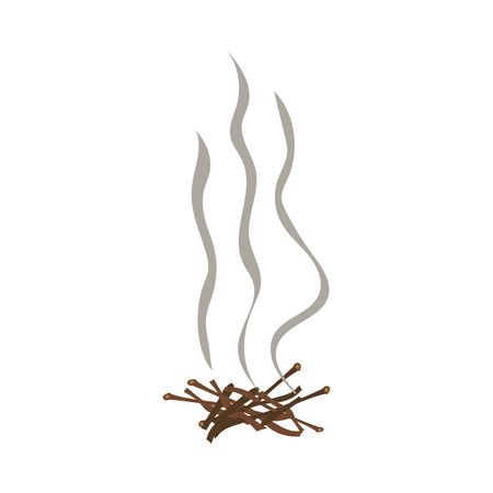Fading camping campfire with firewood cartoon vector illustration isolated on white background. Smoke and ash from fire warning sign for fireproof posters and banners. Illustration