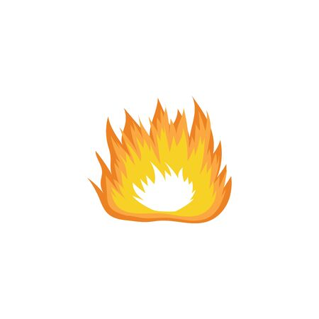 Wide hand drawn fire drawing with orange and yellow flame hot burn symbol of camping bonfire or emergency blaze, simple isolated icon element - vector illustration