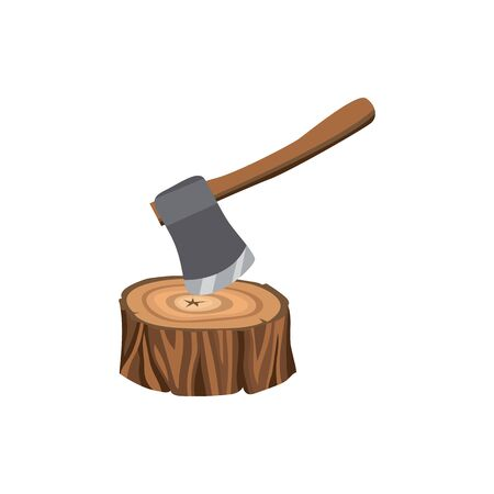 Symbol and icon of a forest stump with an ax, logging tree. Isolated cartoon vector illustration with logging, stump and ax.
