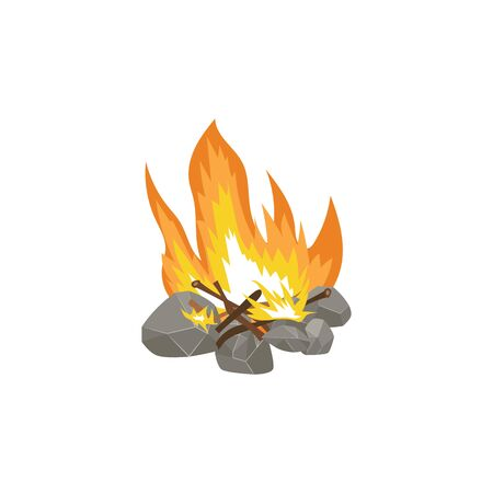Icon flame of a fire on the wood, lined with stones. Campfire and bonfire flames burn, isolated flat vector illustration.