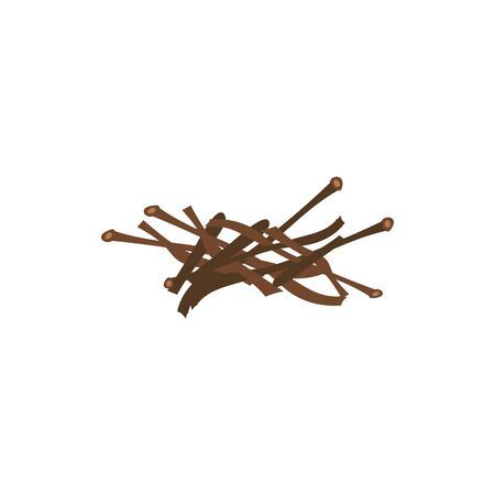 Messy firewood sticks in random pile - brown brushwood drawing prepared for bonfire kindling, small pieces of wood timber isolated on white background. Flat cartoon vector illustration