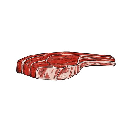 Red cartoon beef steak chop with cartoon marbled texture and white fat streaks, hand drawn cow meat piece isolated on white background. Fresh food ingredient vector illustration  イラスト・ベクター素材