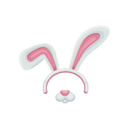 Cartoon easter bunny or rabbit ears and mouth with nose details vector illustration isolated on white background. Funny animal mask assets for photo decoration.