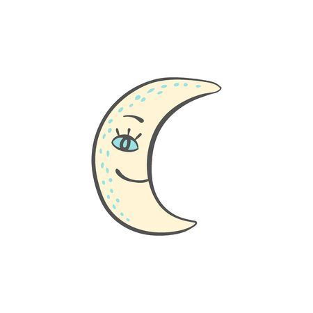 Hand drawn fashion image of the smilling moon for night and sleeping themes design, doodle vector illustration isolated on white background. Creative ink cozy drawing.