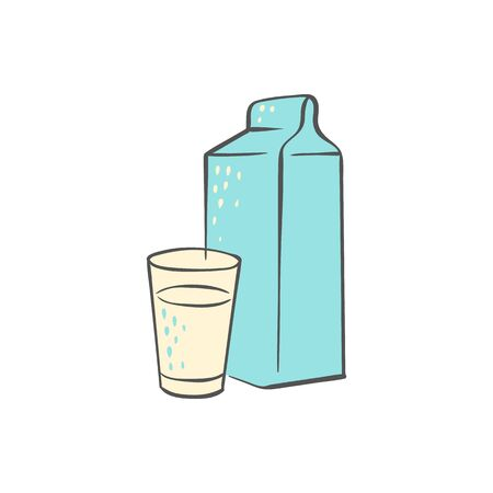 Milk carton and glass - simple hand drawn doodle isolated on white background. Dairy beverage drink in freehand sketch style - vector illustration