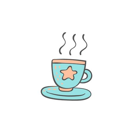 Cup of a hot drink doodle style cartoon element vector illustration isolated on white background. Cute childish icon for Good night and Sweet dreams cards and prints. Ilustração