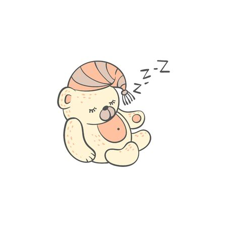 Cute sleeping teddy bear snoring character in doodle style vector illustration isolated on white background. Hand drawn animal for t-shirt print and kid graphic. Vettoriali
