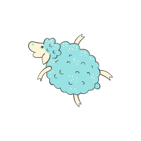 Cute blue sheep doodle - cartoon farm animal in flying pose isolated on white background. Small lamb sketch in freehand hand drawn style, vector illustration