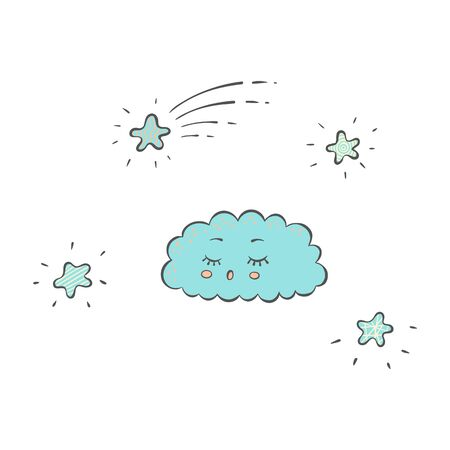 Sleeping blue cloud and sparkling stars in the sky in cartoon hand drawn style, cute cartoon character with eyes closed and snoring with open mouth, isolated vector illustration on white background