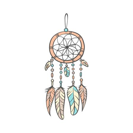 Stylish decorative dream catcher with feathers in soft colors doodle vector illustration isolated on white background. The icon for Good night and Sweet dreams designs.