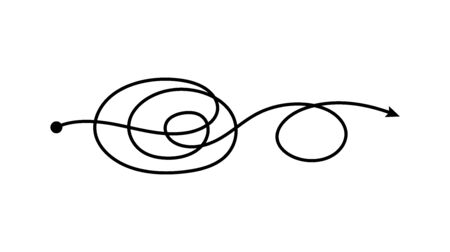Double loop tangled arrow line going from one point in tangle scribble doodle style, freehand scribbled path going in spiral and circle - isolated vector illustration Ilustração