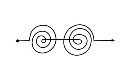 Schwarze Doppelspiralpfeillinie mit kompliziertem Gewirrmuster, freihändiger Doodle-Pfad isoliert auf weißem Hintergrund. Problemlösungs- oder Denkprozesskonzeptelement - Vektorillustration