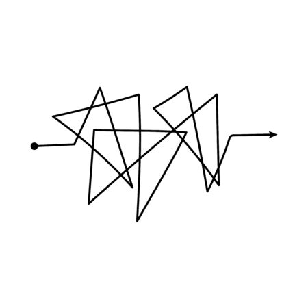 Tangled scribble path or black chaotically drawn arrow line sketch vector illustration isolated on white background. Difficult confused process doodle element or symbol.