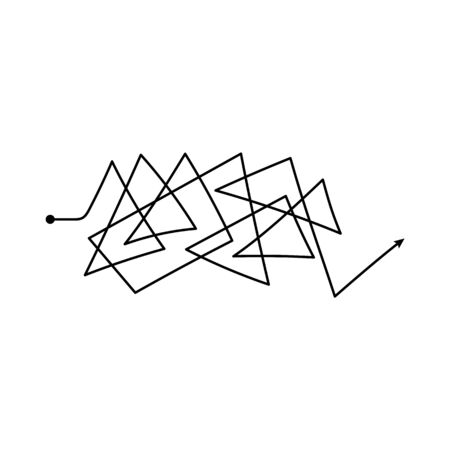 Insane messy black thin line the symbol of confused difficult process doodle vector illustration isolated on white background. Tangled chaotic curved arrow path. Ilustração