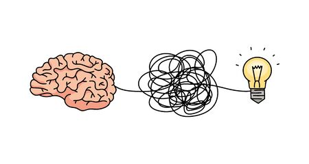 Brain forming an idea through tangled messy line connected to lightbulb symbol, complicated thought process concept from problem in head to solution. Isolated cartoon vector illustration