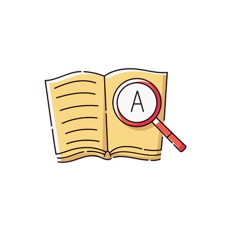 Book icon with magnifying glass showing A letter, translation and education symbol in hand drawn flat cartoon style, research and literature sign isolated on white background, vector illustration Stock Illustratie