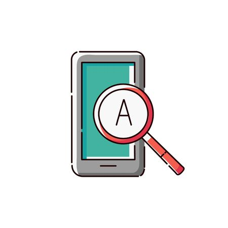 Mobile phone screen with magnifying glass and letter A.Online language school or translator apps icon sketch vector illustration isolated on white background.