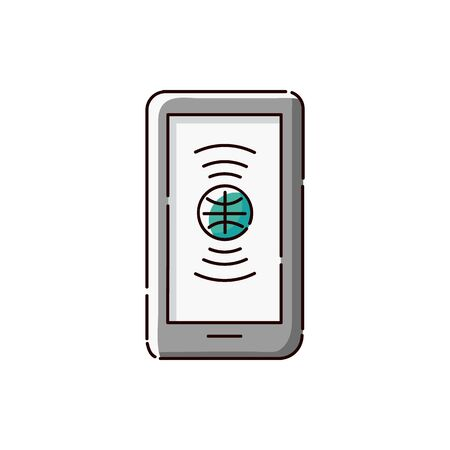 International language translation app icon on green tablet or smartphone, flat cartoon symbol of online dictionary or learning website - isolated vector illustration Stock Illustratie