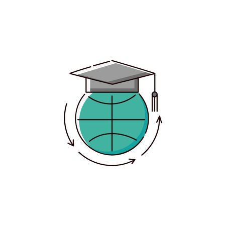 Education around the world - flat icon of globe symbol with university graduation cap, green planet sign with arrows, isolated vector illustration on white background Illustration