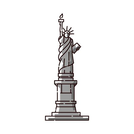 Statue of Liberty icon - famous USA landmark monument in flat line art style, freedom symbol and tourist attraction of New York, America. Isolated vector illustration.