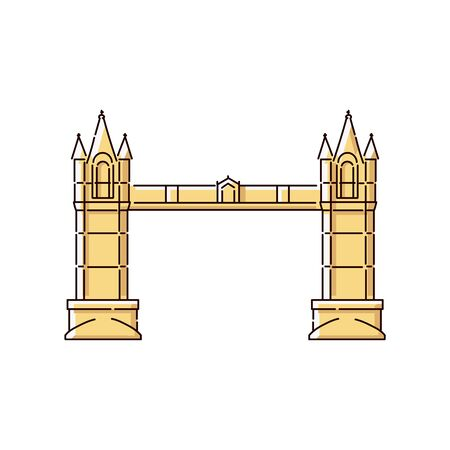 Tower Bridge flat icon - historic architecture landmark of London, United Kingdom. Famous England tourist attraction and thames connection road - isolated vector illustration Illustration