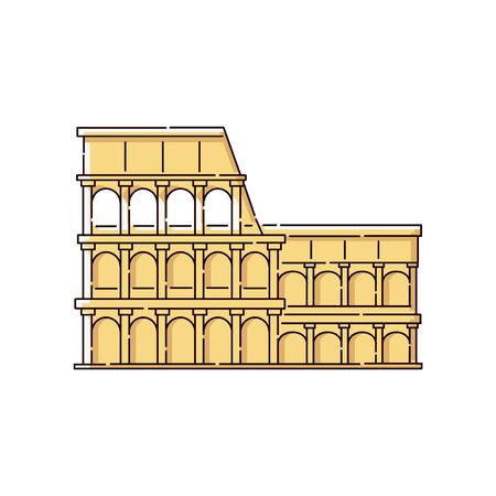 The colosseum icon for italian language online schools and courses sketch vector illustration isolated on white background. Symbol of web translator apps from italian.