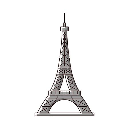 Eiffel Tower flat icon - famous Paris, France tourist attraction. French architecture landmark monument symbol in cartoon line art style - isolated vector illustration 일러스트