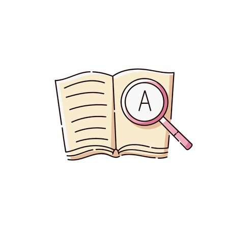 Language translation line or online dictionary icon a book with magnifier sketch vector illustration isolated on white background. Symbol for foreign language courses. Stock Illustratie