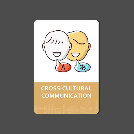 Cross cultural communication - language translation and education service card with flat drawing of two men talking in different languages with speech bubbles - isolated cartoon vector illustration Stock Illustratie