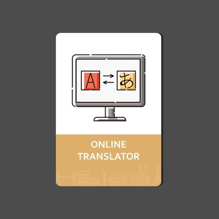 Foreign languages online translator concept of web banner or flyer, view of computer screen with letter and hieroglyph sketch vector illustration with icon and text.