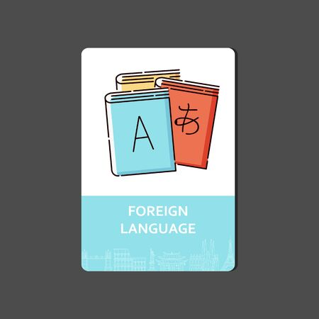 Foreign languages concept with a dictionary and books. Translation and learning of foreign languages, sticker and icon. Flat line vector illustration.