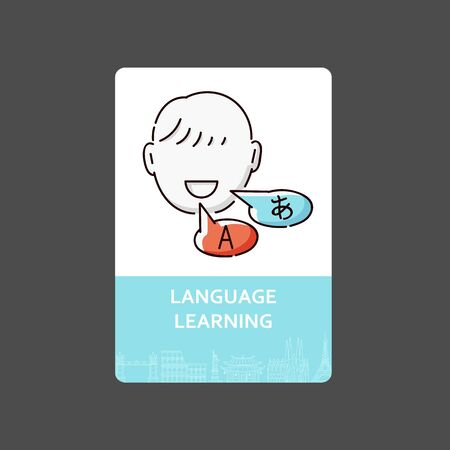 Language learning - translation or interpretation service card design. Flat drawing of happy bilingual cartoon character speaking English and Japanese, isolated vector illustration