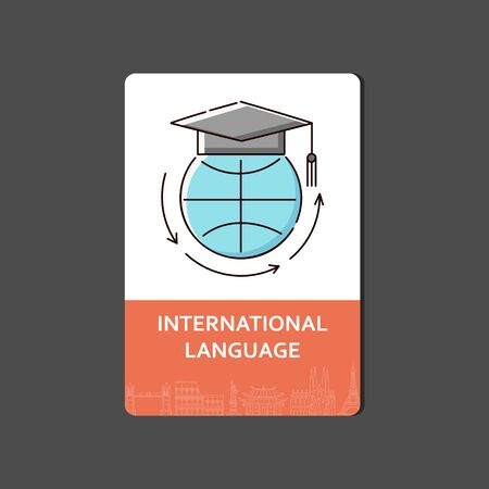 International language web banner or flyer design with icon of globe in university hat sketch vector illustration isolated. Education and foreign language studying concept. Illustration