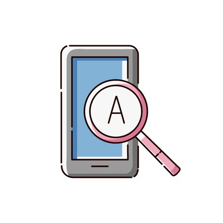 Tablet icon with magnifying glass with an English letter, online word search or translation website symbol. Flat smartphone gadget with language text analysis sign - isolated vector illustration Stock Illustratie