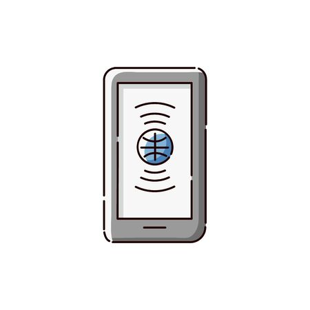 Flat tablet icon with globe symbol, online language translation service on mobile device, smartphone with interpreter app symbol isolated on white background - vector illustration