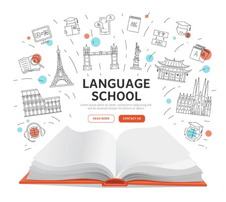 Language school landing page - open book with education symbols around text template, foreign tourist attractions and translation icons for online course website - isolated vector illustration