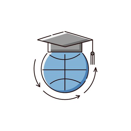 Globe in university graduate hat an icon or element for online learning sketch vector illustration isolated on white background. Symbol of distance education.