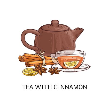 Spicy tea type the tea with cinnamon sketch vector illustration isolated on white background. Teapot and cup with hot herbal drink design element for package and menu.