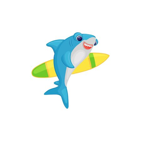 Cute cartoon shark holding a surfing board, funny surfer fish character smiling and going swimming with surfboard, isolated vector illustration on white background Stock Illustratie