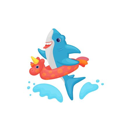 Cute cartoon baby shark swimming in water with inflatable ring, funny sea animal kid splashing and playing with unicorn shaped safety toy, isolated vector illustration Stock Illustratie