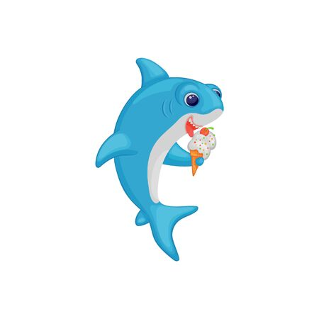 Cute cartoon baby shark eating ice cream, funny blue sea animal character holding a summer dessert with its fin ready to eat, ocean fish kid vector illustration isolated on white background