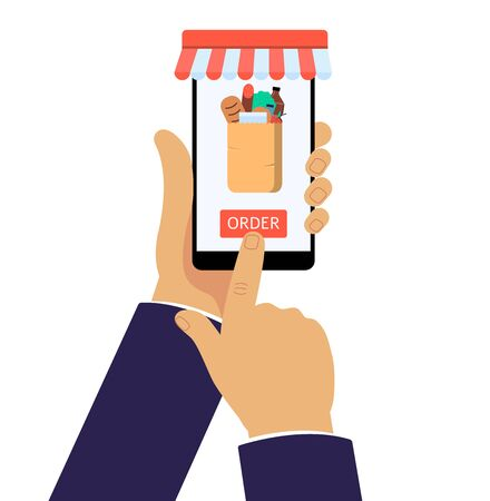 Online grocery shop app on mobile phone. Internet purchase of food in paper bag, businessman hands holding a smartphone and pressing red order button - isolated flat vector illustration Illustration