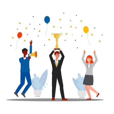 Group of people jumping and cheering happily holding golden cup trophy and celebrating success flat vector illustration isolated on white background. Teamwork award banner. Stock Illustratie