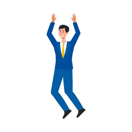 Happy businessman jumping in air - male cartoon character in business suit mid jump in celebration of success, isolated man drawing on white background, flat vector illustration Illustration