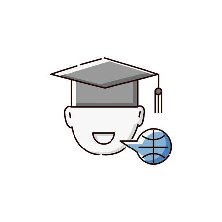 Student in university hat and bubble speech symbolising language studying sketch vector illustration isolated on white background. Icon for language online internet school. Archivio Fotografico - 128900108