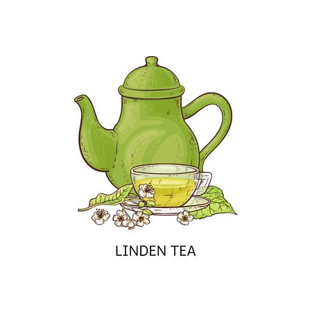 Linden flowers with a teapot or kettle and cup of tea sketch doodle vector illustration isolated on white background. Herbal tea types icon to use in packaging design.