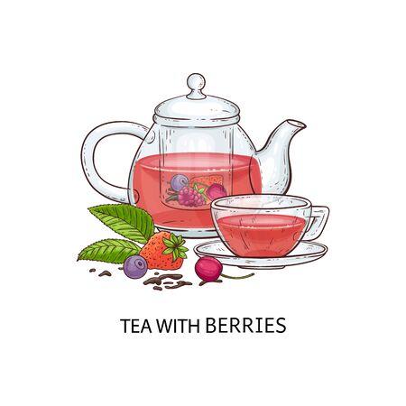 Una teiera in vetro trasparente e una tazza con tè rosa ai frutti di bosco. Concetto di bevanda con tè e teiera di frutti di bosco. Illustrazione vettoriale disegnata a mano isolata.