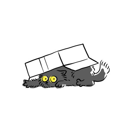 Cute black cat crawled under the cardboard box, sketch cartoon character vector illustration isolated on white background. Problematic and funny behavior of pets.