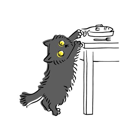 Funny grey cat stealing fish off the table and looking around, hungry domestic animal being a sly thief. Hand drawn pet kitten cartoon character - isolated vector illustration